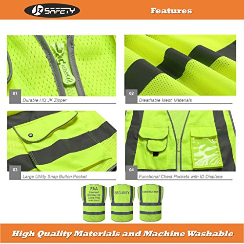 JKSafety 9 Pockets Class 2 High Visibility Zipper Front Safety Vest With Reflective Strips,HQ Breathable Mesh,Meets ANSI/ISEA Standards(X-Large, Drone-Yellow) by JKSafety (Image #4)