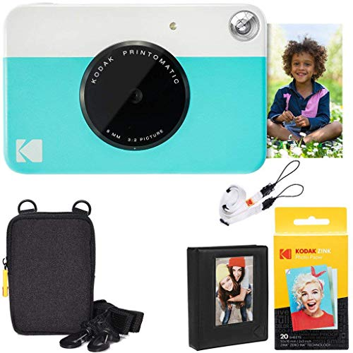 Kodak Printomatic Instant Camera (Blue) Deluxe Bundle + Zink Paper (20 Sheets) + Deluxe Case + Photo Album + Hanging Frames + Comfortable Neck Strap -