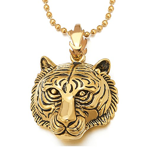 COOLSTEELANDBEYOND Stainless Steel Mens Women Gold Color Tiger Head Pendant Necklace with 30 inches Ball Chain