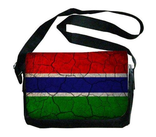 Gambia Flag Crackled Design Messenger Bag