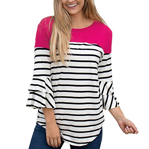 imprim Femme Shirt Col vases Casual Manches Blouse Longues Chemisiers Chemisier Blouse Manches Ray Taille Femme Weant Blouses U Grande Rose Tops ngv7wHX