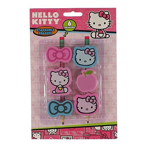 Hello Kitty 6 stackable pencil top Erasers