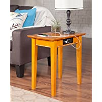 Atlantic Furniture AH13117 Shaker Side Table Rubberwood, Caramel Latte