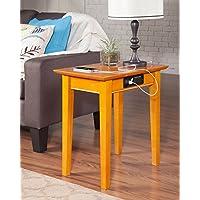 Atlantic Furniture AH13117 Shaker Side Table Rubberwood, Caramel Latte