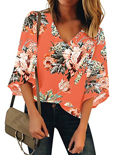 LookbookStore Women's V Neck Floral Printed Mesh Patchwork Blouse 3/4 Bell Sleeve Loose Summer Top Shirt Salmon Size Small