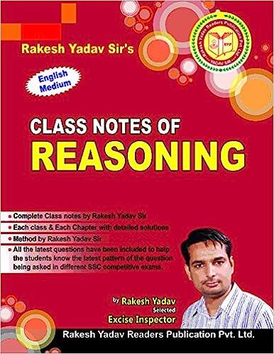 Hand Written Class Notes of Reasoning by Rakesh Yadav Publication
