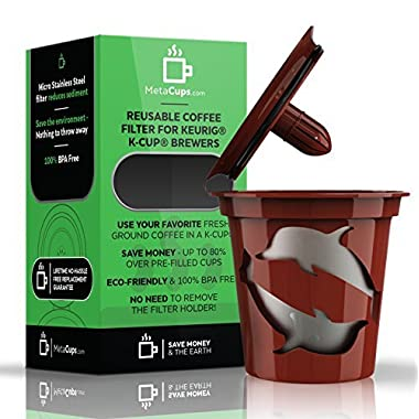 MetaCups Refillable Reusable K cup Coffee Filter for All Keurig 1.0 Brewers. Works with Keurig Machines, Single Cup Brewers and Tea K-cup Pods. Bonus Free Keurig Coffee Recipes Guide Plus Lifetime Guarantee.
