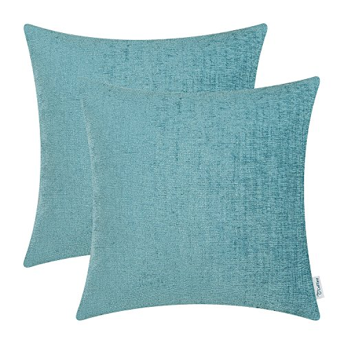CaliTime Pack of 2 Cozy Throw Pillow Covers Cases for Couch Sofa Home Decoration Solid Dyed Soft Chenille 18 X 18 Inches Teal