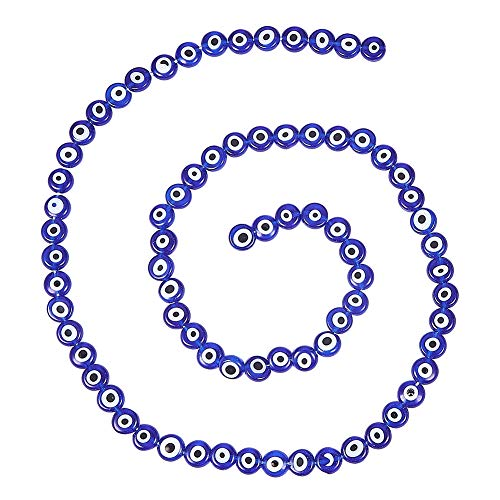 (NBEADS 10 Strands (About 49pcs/Strand) Blue Handmade Evil Eye Lampwork Glass Beads Flat Round Spacer Loose Beads for Bracelet Necklace Jewelry Making)