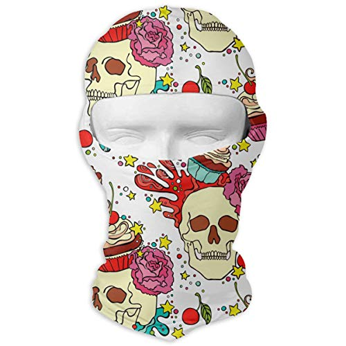 Winter Balaclava Face Mask -Skull Cupcake, Men & Women Wind-Resistant Thermal Helmet Liner Mask Head Wrap Adjustable Neck Gaiter Protection for Snowboard Sports ()