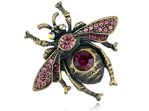 Alilang Womens Brass Antique Pink Rhinestones Bumble Bee Honey Fly Valentines Brooch Pin