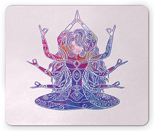 Yoga Mouse Pad by Ambesonne, Positive Thoughts Positive Vibrations Ornaments Spiritual Physical Practices, Standard Size Rectangle Non-Slip Rubber Mousepad, Pink Purple White