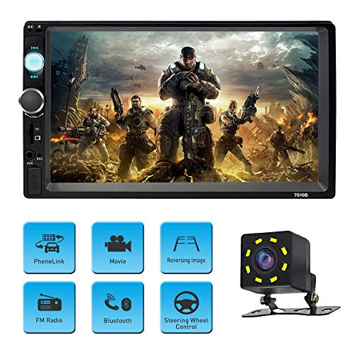 Car Stereo with Bluetooth Double Din Car Radio with Backup Camera 7 inch Touch Screen Car MP5 Player Support MP3/WMA/WAV/MKV/FLAC/OGG with Wireless Remote Control (Radio Tv Car)