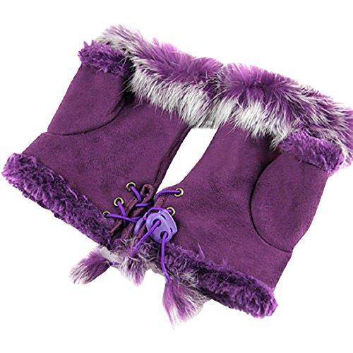 TRENTON Women Girl Rabbit Fur Leather Fingerless Suede Mittens Winter Wrist Gloves