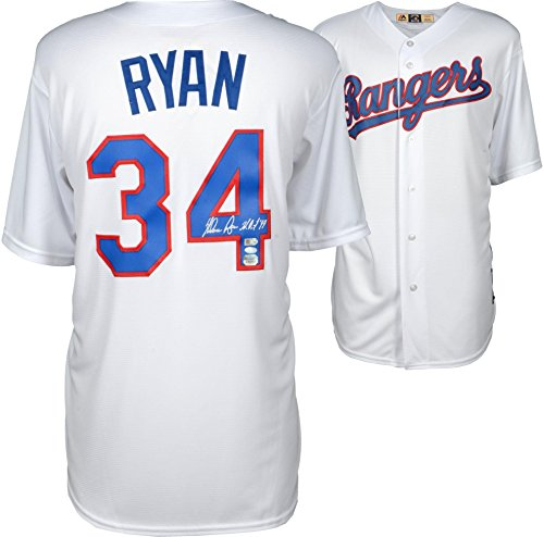 Nolan Ryan Texas Rangers Autographed White Cooperstown Collection Replica Jersey with HOF 99 Inscription - Fanatics Authentic Certified (Ryan Jersey Replica)