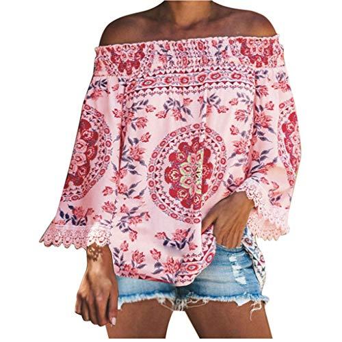 GREFER Fashion Bohemia Printed Off Shoulder Tops - Lace Trim Tassel Full Sleeve T Shirts - Elegant Plus Size Blouses Pink ()