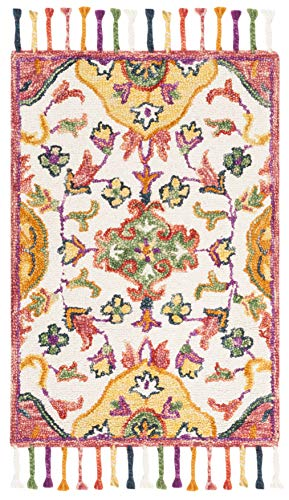 Safavieh BLM456A-4 Blossom Collection Floral Vines Premium Wool Area Rug, 4' x 6', Ivory/Multicolored