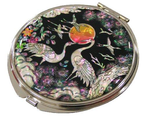 Polishing Mother Of Pearl (Mother of Pearl Makeup Mirror Sun & Crane Design Cosmetic Mirror Handbag Purse Handheld Compact Hand Pocket Mirror(big))
