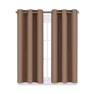 NICETOWN Blackout Window Curtains and Drapes for Kitchen, Window Treatment Thermal Insulated Solid Grommet Blackout Drapery Panels (Set of 2 Panels,29 by 45 Inch,Cappuccino)