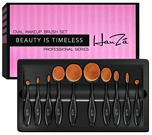 Makeup Brushes by HanZá - 10 PIECE Professional Oval Makeup Brush Sets For Powder, Blush, Foundation, Concealer,...
