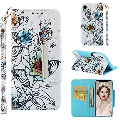 Lily Cell Phone Snap - Case for iPhone Xr,Durable 3D Printing PU Leather Wallet Case Credit Card Holder with Wrist Strap & Magnetic Closure Inner Soft TPU Bumper Shock Absorbent Case Compatible with Apple iPhone Xr -Lily