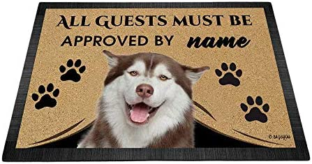 BAGEYOU All Guests Must be Approved Outdoor Doormat with My Love Dog Husky Welcome Floor Mat Custom Name 35.4 x 23.6