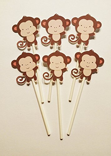 baby-monkey-cupcake-toppers-set-of-24-for-birthday-party-baby-shower-and-jungle-themed-event