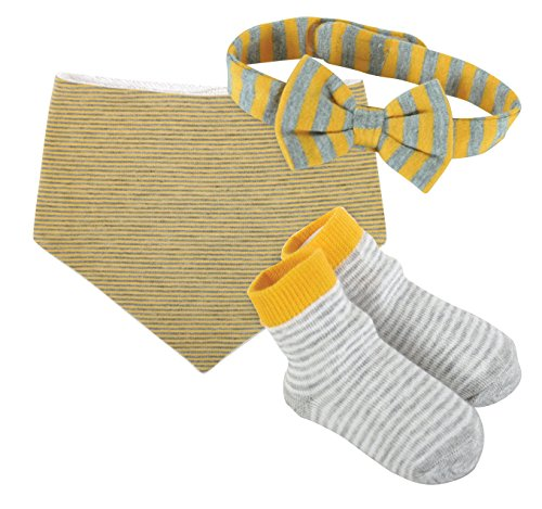 Stephan Baby Bandana Bib with Bow Tie and Socks Gift Set, Gray/Orange/White Stripes (Bow Orange Socks)