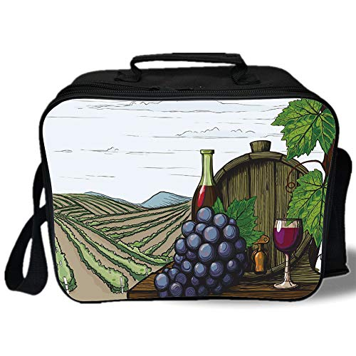 Wine 3D Print Insulated Lunch Bag,Landscape with Views of Vineyards Grapes Leaves Drink Barrel Agriculture Field Farm Decorative,for Work/School/Picnic,Multicolor