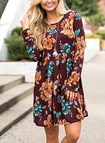 Women/'s Casual Floral Round Neck Long Sleeve Tunic Pleated Swing Midi T-Shirt Dress