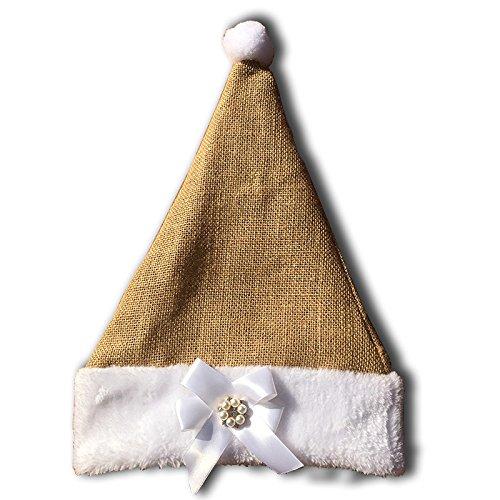 Jute Burlap Christmas Santa Hat for Kids Adult Birthday photo prop