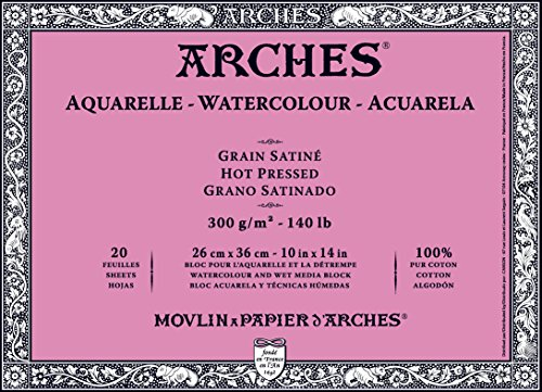 - Arches Watercolor Block, Hot Press 10