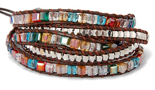 Glass Bead Bracelet - SPUNKYsoul 5 Wrap Bracelet in Colorful Crystal Glass Square Faceted and Brass Silver Toned Beads Collection