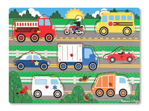 Melissa & Doug Vehicles Wooden Peg Puzzle (8 pcs) (Truck Garbage Wood)