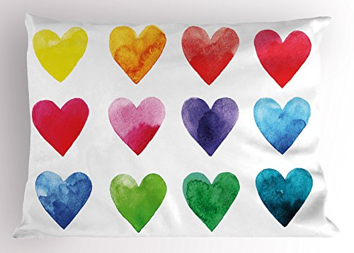(Ambesonne Valentine Pillow Sham, Rainbow Colored Heart Shapes in Watercolors Hand Drawn Romantic Love Illustration, Decorative Standard King Size Printed Pillowcase, 36 X 20 inches,)