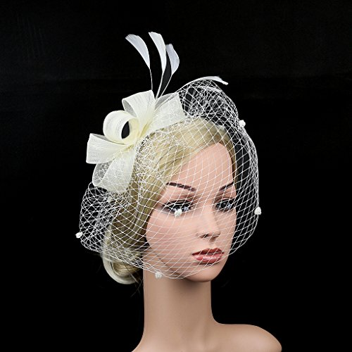 915073d2665ce Merya Dress DotVeil Kentucky Derby Fascinator Hats Feather Prom Cocktail  Tea Party Hats Pure White by