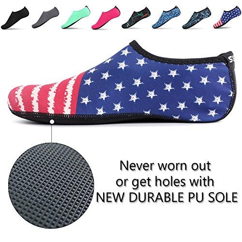 SENFI Unisex Wasser Haut Schuhe Barfuß Aqua Socken für Pool-Wasser-Aerobic-Übung A.red