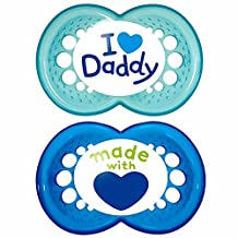 MAM Style Soother 6+Months - I Love Daddy Boy (Blue & Blue)