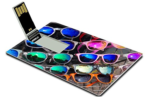 Luxlady 32GB USB Flash Drive 2.0 Memory Stick Credit Card Size bunch of retro style sunglasses on a rack in front of a store IMAGE - Of A Bunch Sunglasses
