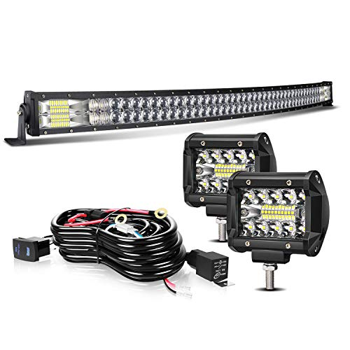 TURBOSII Led Light Bar 52Inch 300W Curved 5D Offroad Led Work Light Bar Spot Flood Combo + 2Pc 4Inch Led Pods Fog Lights + Wiring For Jeep Truck SUV Polaris Rzr Golf Cart Chevy Ford Dodge (Dragon D1 Lenses)