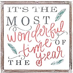 It's The Most Wonderful Time of The Year Wood Sign 18x18 Rustic Home Decor Christmas Sign Holiday Decor Winter Decorations Farmhouse Country Decorative Saying Fireplace Wooden Wall Decoration