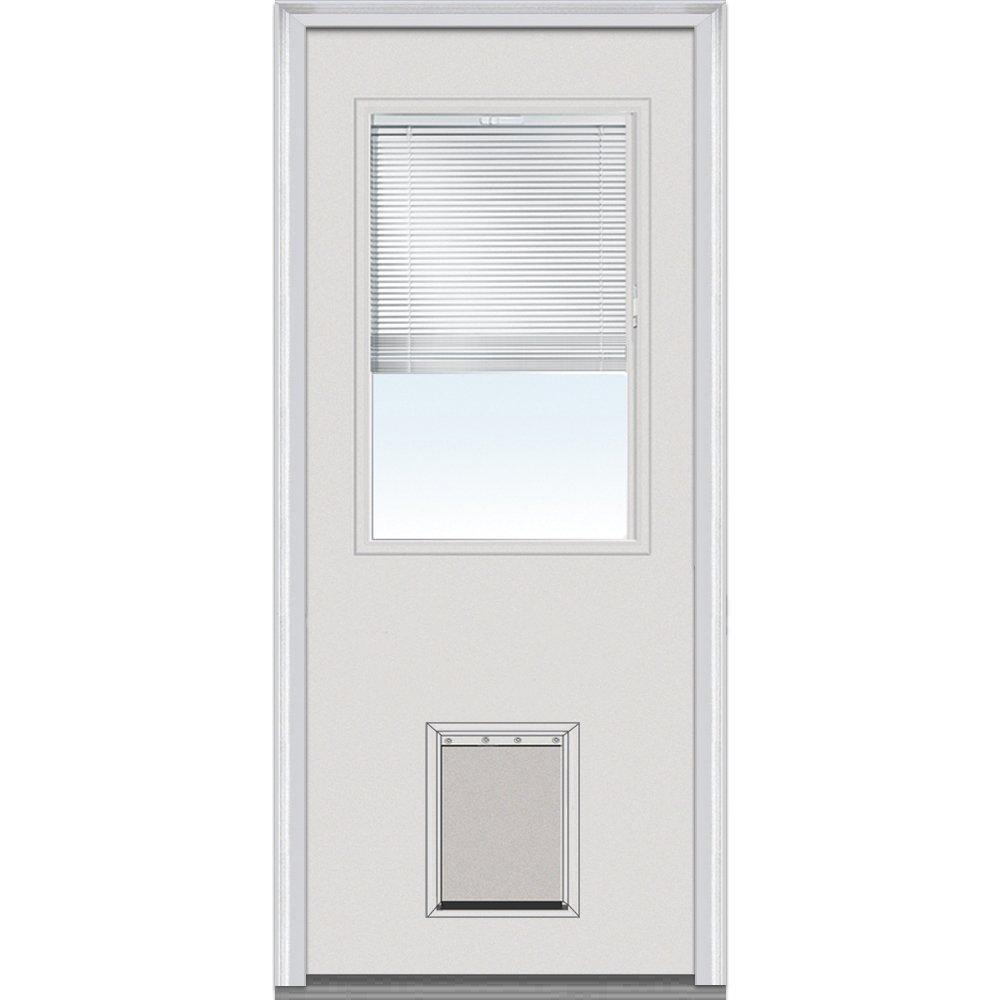 1//2 Lite with Pet Door Exterior Prehung Door 32x80 Primed National Door Company ZFSF684BLFS28R Fiberglass Smooth Internal Blinds Right Hand Inswing
