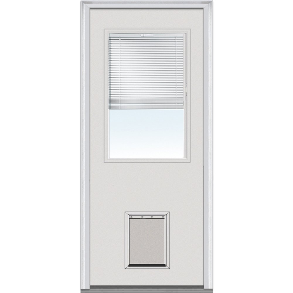 National Door Company ZA00234 Steel, Primed, Right Hand Inswing, Exterior Prehung Door, Clear Glass Internal Blinds, 1/2 Lite with Pet Door, 36''x80''