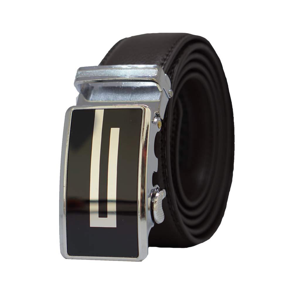 MB17-BL Behnaz Pucci Leather Automatic Buckle Men Belt BLACK