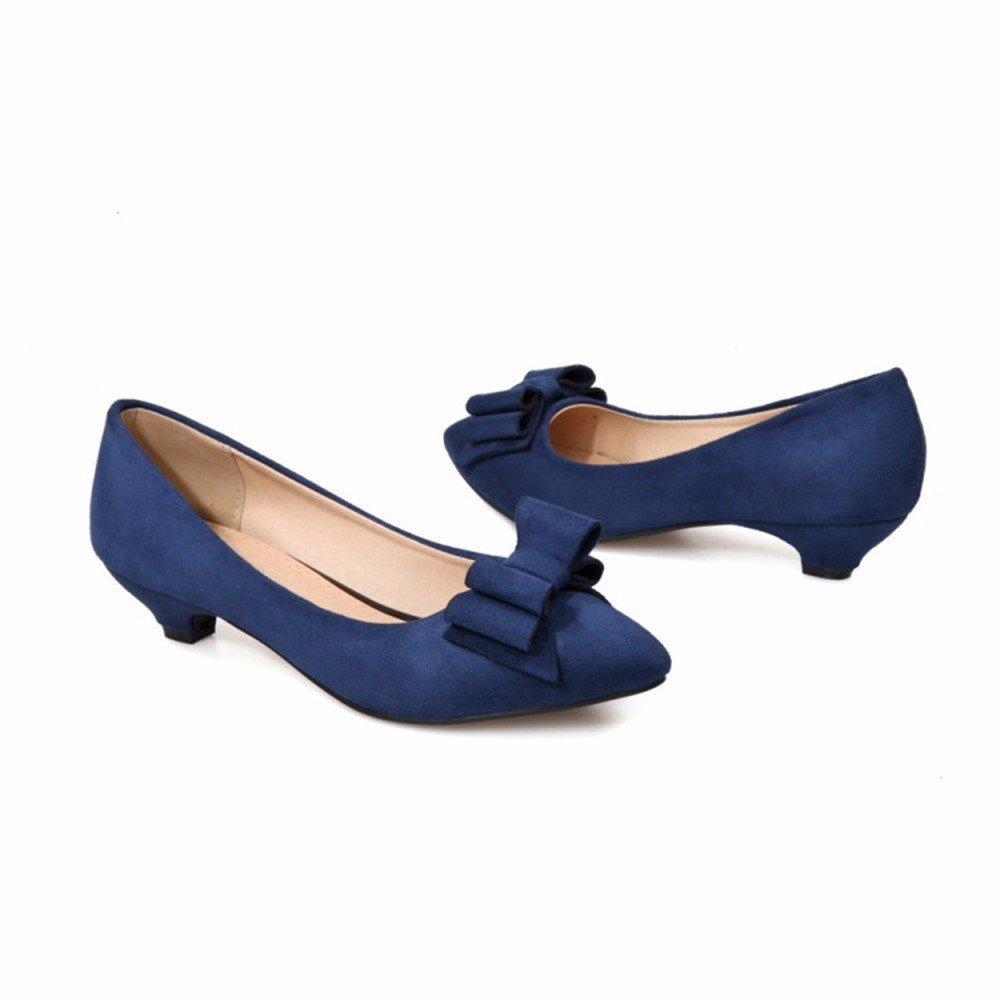 Bow Tie, Damenschuhe, Schuhe mit großen Mund, süße große Schuhe, blau, 35