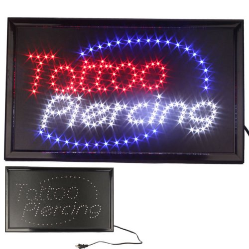 UbiGear 10 * 19 inch Animated Motion LED Business Tattoo Piercing Shop Sign Switch Open Light Neon