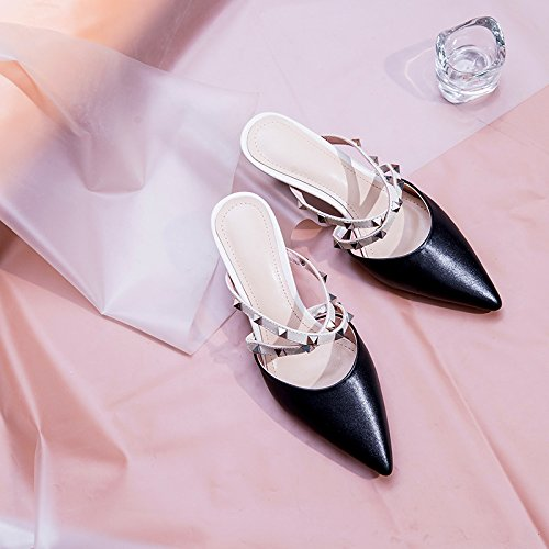 AJUNR Moda/elegante/Transpirable/Sandalias Remaches consejos zapatos de mujer temperamento zapatillas negro 6cm de alto-Heel Shoes 39 37