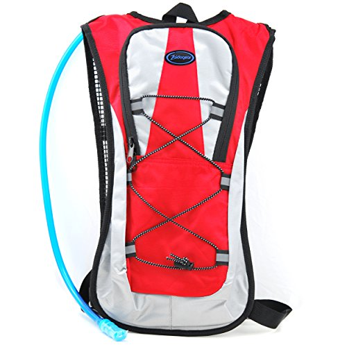 Zaidogear Hydration Pack with 2L Backpack BPA Free Water Bladder, Fits Men, Women, Youth and Kids, Used for Hiking, Running, Cycling, and Skiing - Red Color