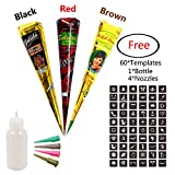 Temporary India Tattoo Kit,3Pcs 3 Colors Paste Cones Body Art Painting Drawing With 60 Pcs Adhesive Stencil,1 Plastic Bottle and 4 Plastic Nozzles(Black,Red,Brown)