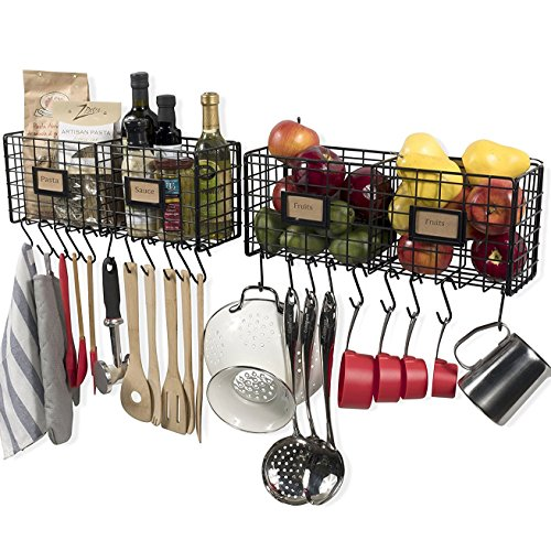WALL35 Kitchen Storage Wire Shel Basket Racks Wall Mountable Space Saving Design for Pantry Organization Set of 2 with 20 Hooks Black (Baskets That Hang On The Wall)